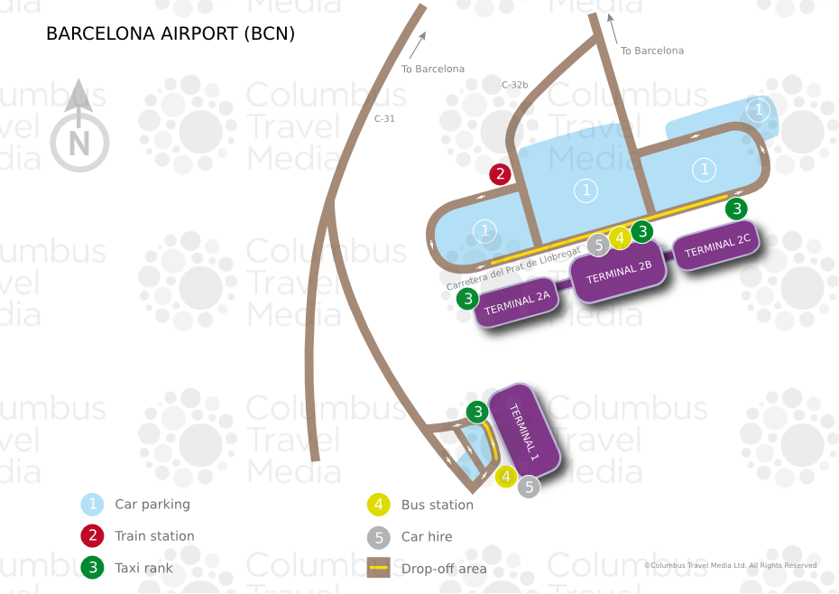 Mapa Terminal 1 Barcelona.Map Of Barcelona Airport Transportation Terminal