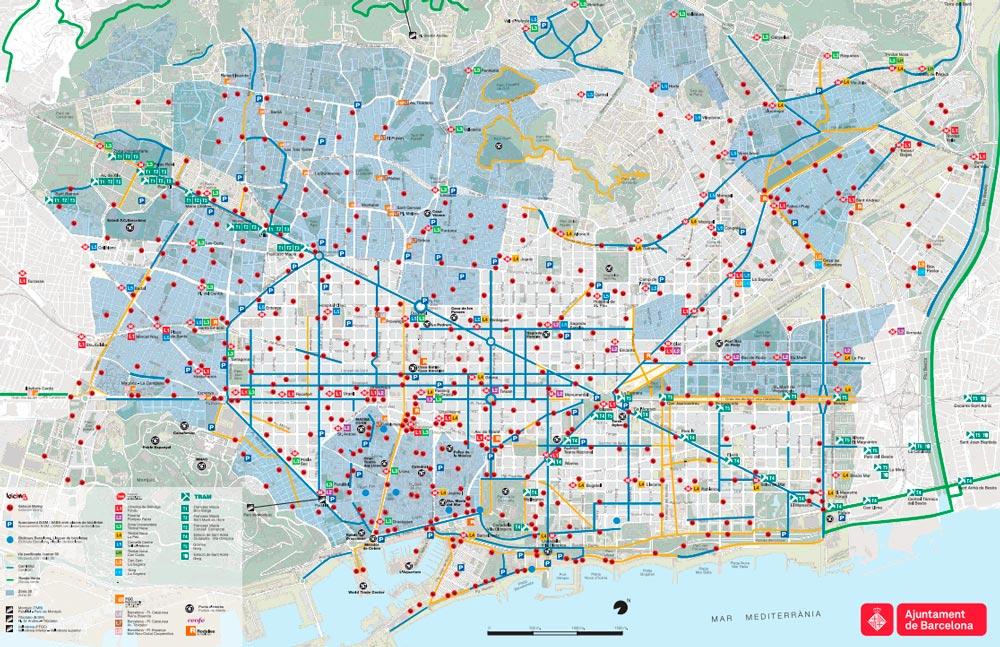Map of Barcelona bike paths bike routes bike stations