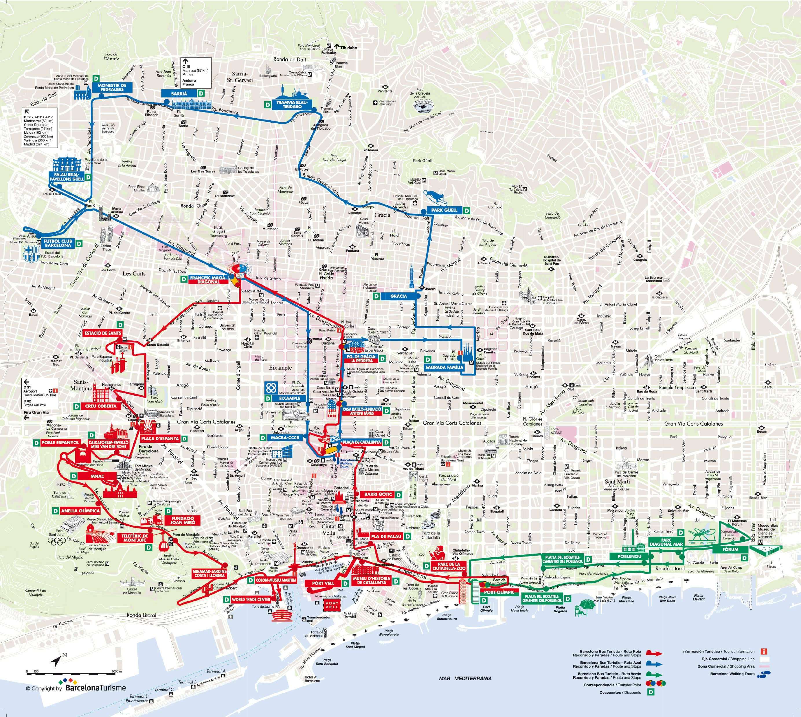 map of barcelona hop on hop off bus tour with bus turistic
