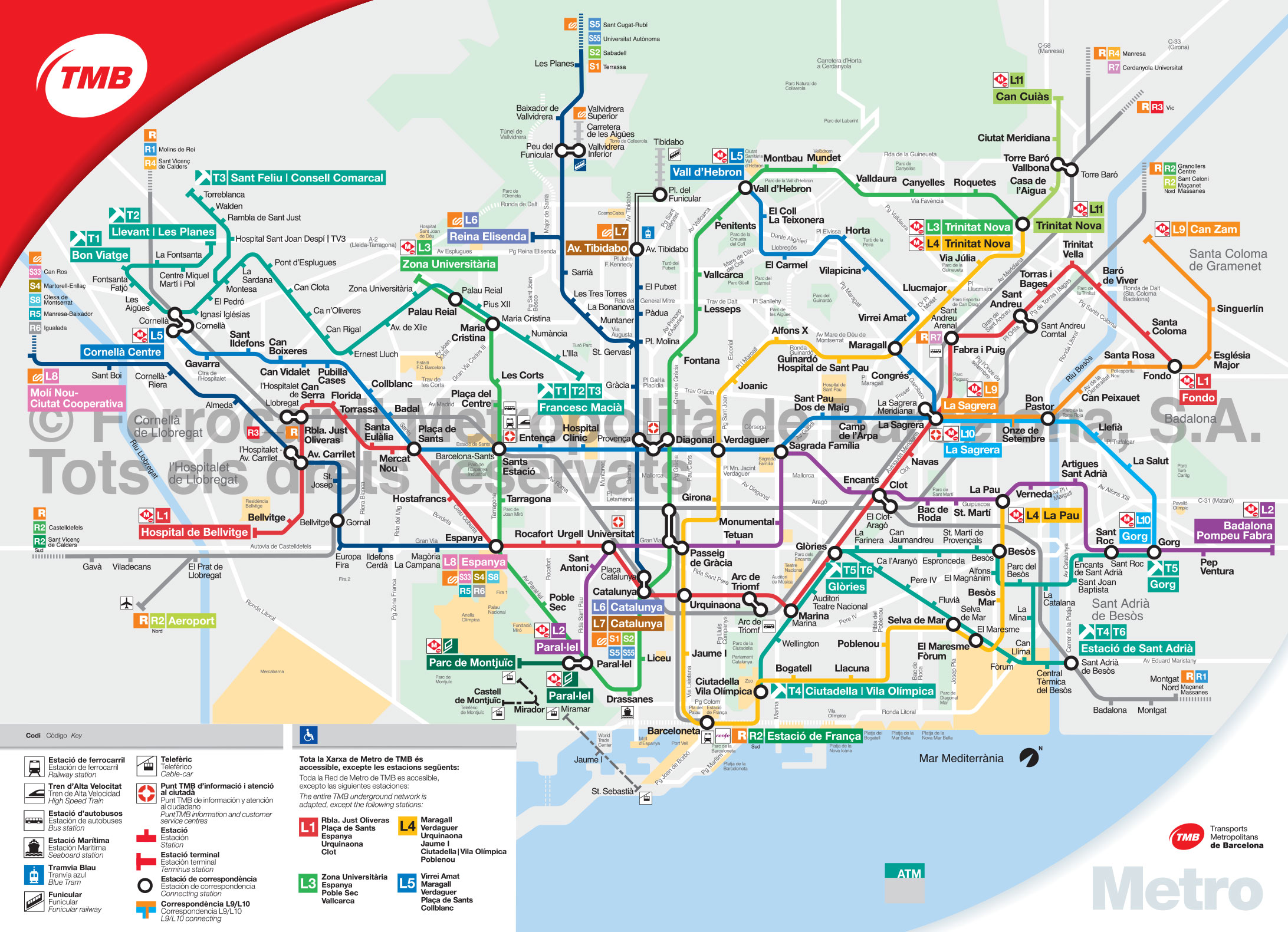 Map of Barcelona subway, underground & tube (metro): stations & lines