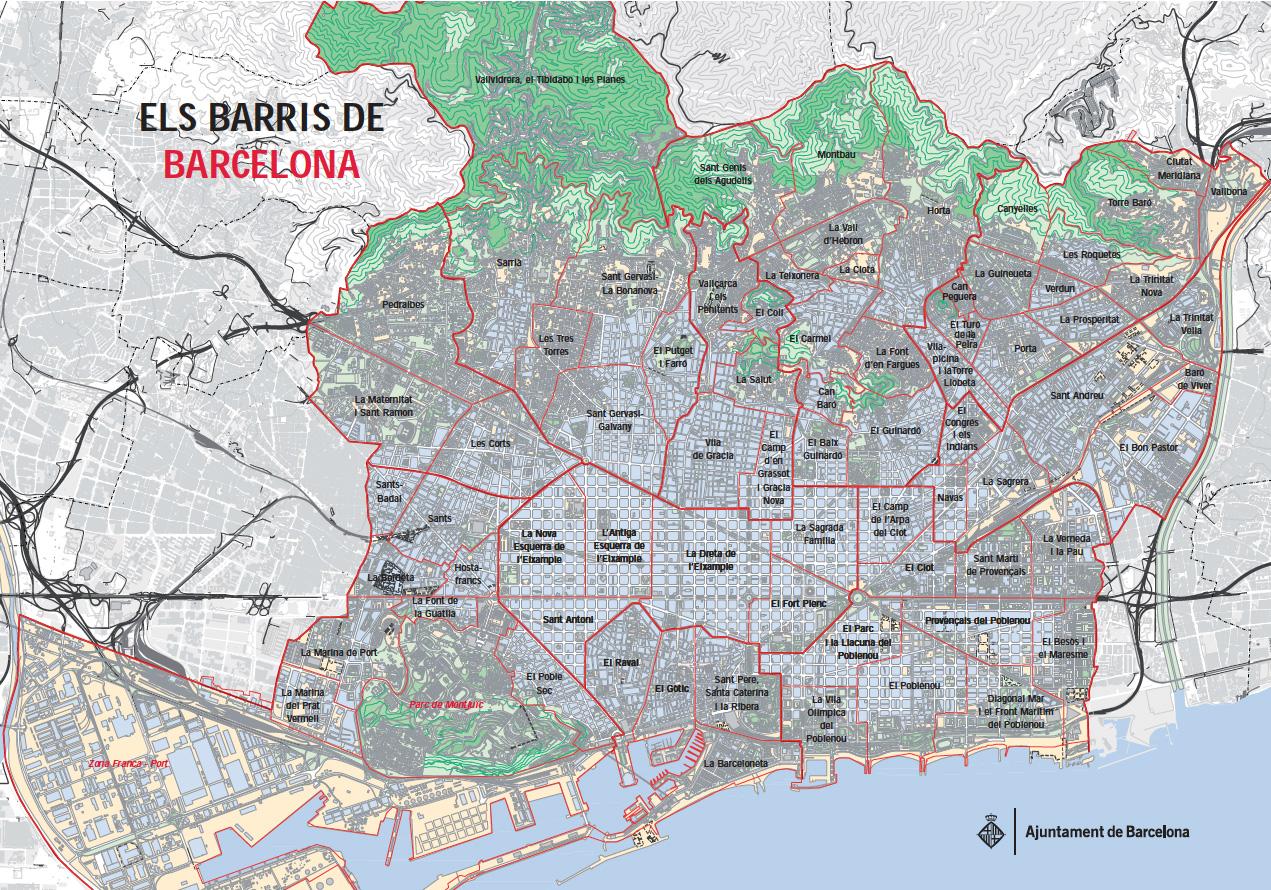 Map of Barcelona 10 boroughs distritos neighborhoods