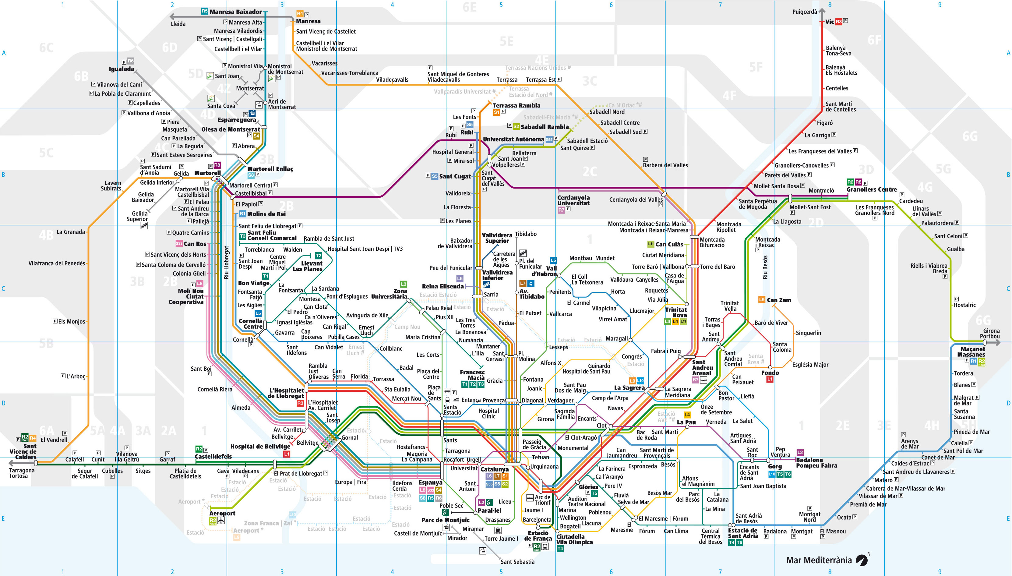 Subway Map Of Barcelona Spain.Map Of Barcelona Commuter Rail Rodalies Stations Lines