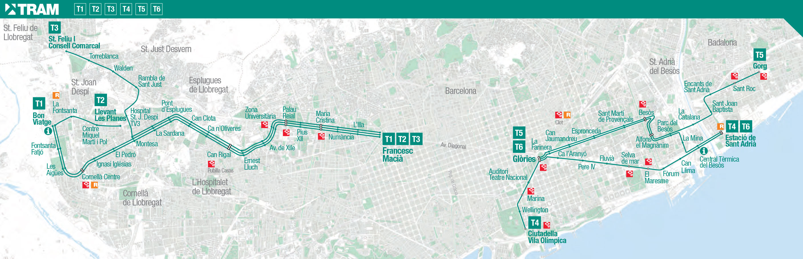 Map of Barcelona tram stations lines