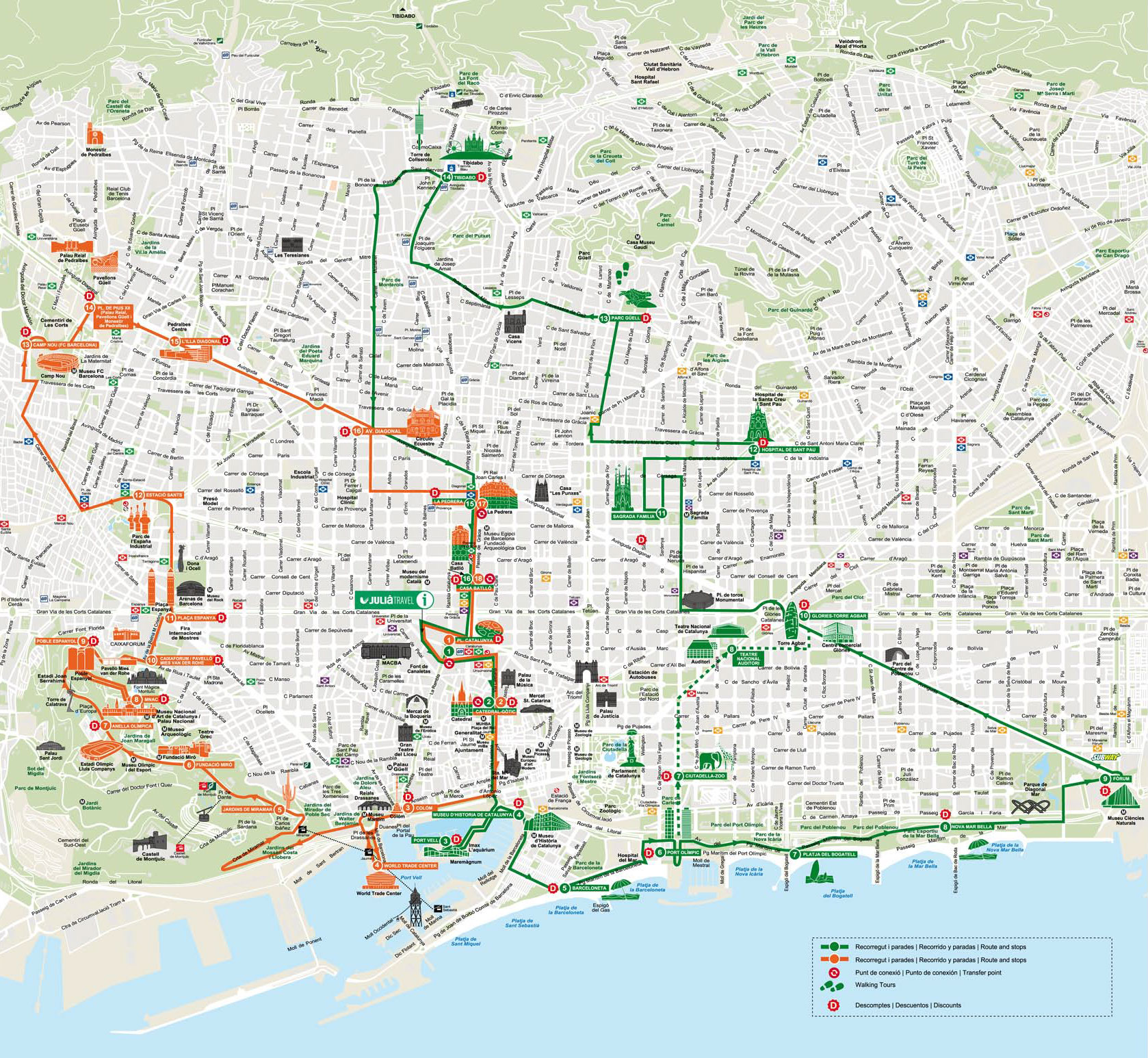map of barcelona hop on hop off bus tour with barcelona city tour