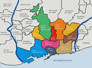 Map of Barcelona boroughs, districts, distritos & areas