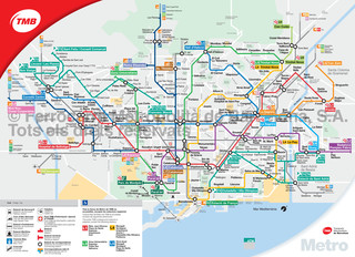 Map of Barcelona subway, tube & underground TMB network